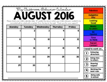Behavior Calendars 2016 - 2017 (Clip Chart Version)