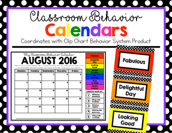 Behavior Calendars 2016 - 2017 (Clip Chart Version)