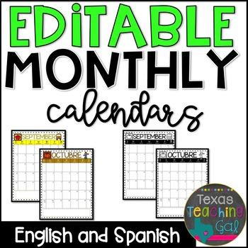 Behavior Calendars 2017-2018 [Editable] in English and Spanish