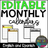 Editable Monthly Calendars 2018-2019 in English and Spanish Behavior Calendar