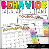 Behavior Calendars 2018-2019 School Year EDITABLE