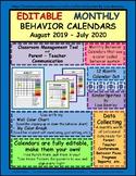 Editable Classroom Management Behavior Calendars 2018 - 2019
