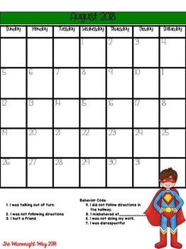 Behavior Calendars- 6 Weeks Superhero Themed