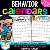 Behavior Calendars ~EDITABLE~ **UPDATED YEARLY** Includes