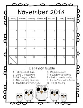 Behavior Calendars - Owl Theme