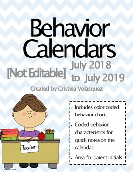 Behavior Calendars July 2017 - July 2018  [NOT EDITABLE] UPDATED!