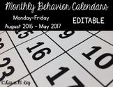 Behavior Calendars for 2016-2017 EDITABLE