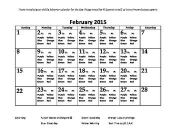 Behavior Calendars for January-June 2015