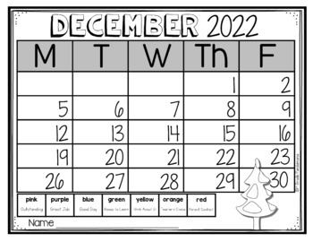 Behavior Calendars to Supplement Clip Chart {Editable}