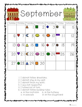 Behavior Calendars with Pictures