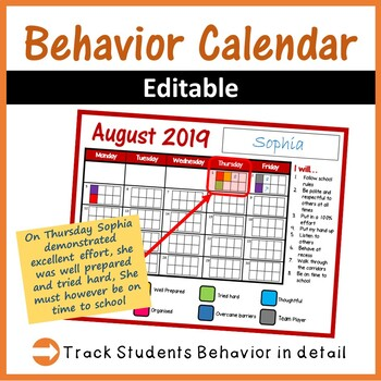 behavior calenders 2018 2019 editable by computer creations tpt