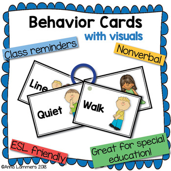 Behavior Cards - Classroom Management, Individual Reminders
