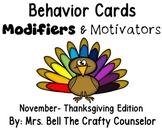 Behavior Cards - November Edition (Get Students Back On Task)