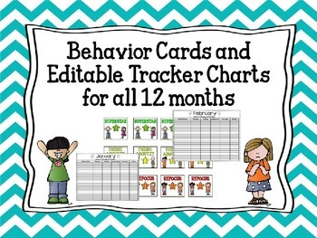 Behavior Cards and Editable Tracker Charts  for all 12 months