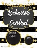 """Behavior Central Binder Set/Tabs/Spines """"Glam"""" {Black-Gold}"""