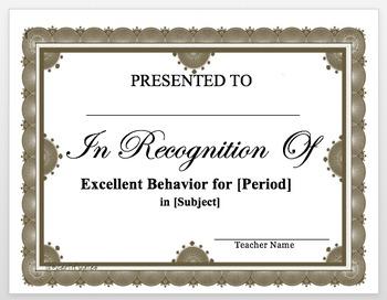 Behavior Certificate Template