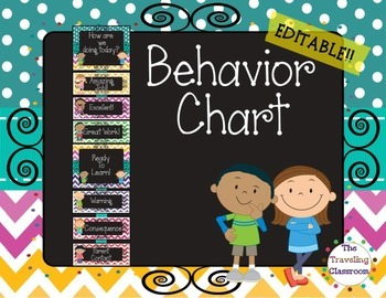Editable Behavior Clip Chart {Chalkboard Chevron Polka Dot}