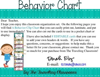 Editable Behavior Clip Chart {Chevron Polka Dot Theme Classroom Decor}