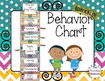 Editable Behavior Clip Chart {Chevron Polka Dot Theme Clas