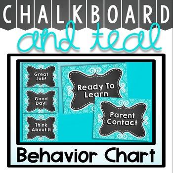 Behavior Chart {Teal and Chalkboard Classroom Decor Theme}