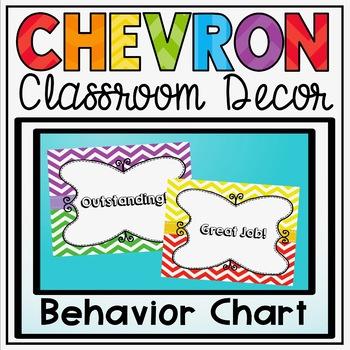 Behavior Clip Chart {Primary Colors Chevron Classroom Decor Theme}