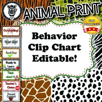 Behavior Chart  - Animal Print - ZisforZebra - Editable!