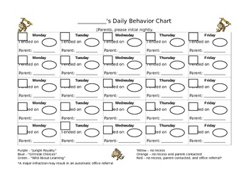 Behavior Chart - Blank for any month