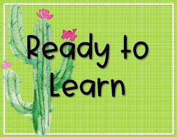 Editable Behavior Chart  - Cactus - Succulent Decor