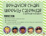 Behavior Chart Calendar (Days of the Month are editable)