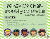 Behavior Chart Calendar (Days of the Month are editable)