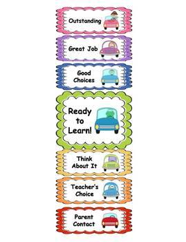 Behavior Clip Chart - Car Theme