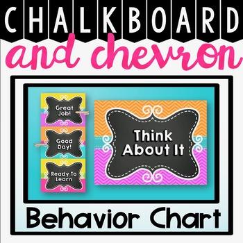 Behavior Chart Clip Chart {Chalkboard and Chevron Classroom Decor Theme}