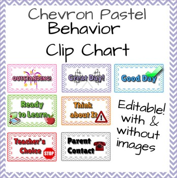 Behavior Chart - Chevron & Pastel - Editable