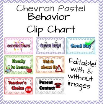 Behavior Chart - Chevron & Pastel - Editable