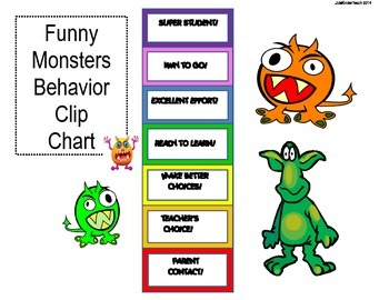 Behavior Chart Clip System & MANAGEMENT SYSTEM** Funny Monsters Theme-