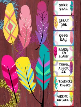 Behavior Chart - Colorful Feathers - Editable