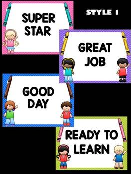 Behavior Chart - Crayons and Kids - Editable