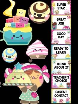 Behavior Chart - Cuties Sweets Shop - Editable