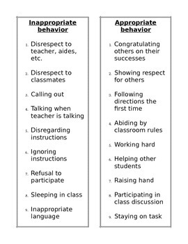 Behavior Chart - Editable