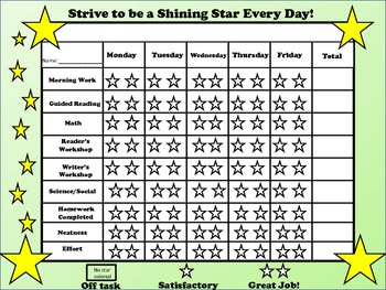 Behavior Chart Freebie Be A Shining Star By Kennedy S