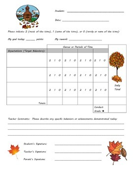 Behavior Chart - Fall Theme
