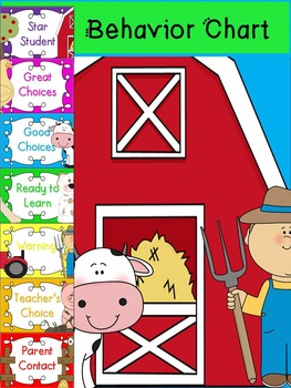 Behavior Chart Farm Theme