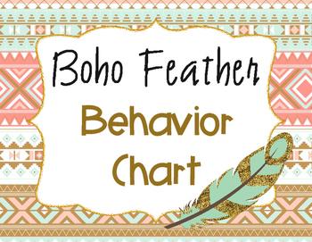 Behavior Chart - Feather Boho/Tribal Theme