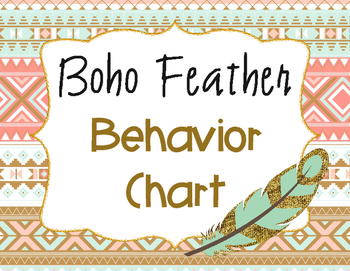 Behavior Chart - Feather Boho/Tribal Theme