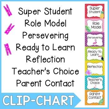 Behavior Clip Chart- Flamingo Theme