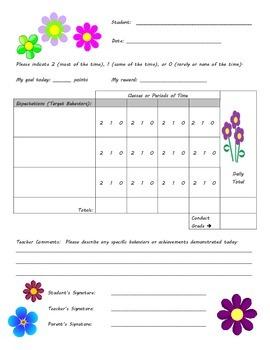 Behavior Chart - Flower Theme
