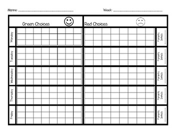 Behavior Chart--Green and Red Choices