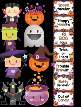 Behavior Chart -  Halloween Friends Theme Behavior Clip Chart, Witch, Monsters