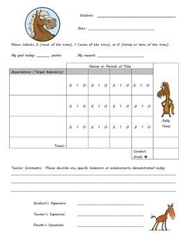 Behavior Chart -Horse Theme