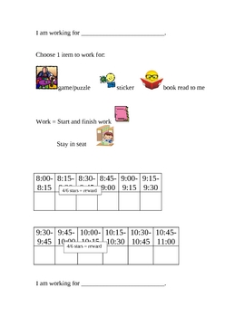 "Behavior Chart: ""I am working for"" behavior chart"